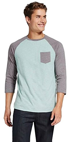 Raglan Tone T-shirt (Masked Brand Mossimo Men's 3/4 Sleeve Raglan Tee Shirt With Pocket (Medium, Lime Cream))