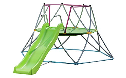 Geometric Dome Climber Slide Hexagon - Multiple Kids Jungle Gym Climbing Structure, Activity Center, Outdoor & Indoor Playground, Monkey Bars Climbing Tower - Age 3 - 10 Play Sets - 55 inches Mat ()