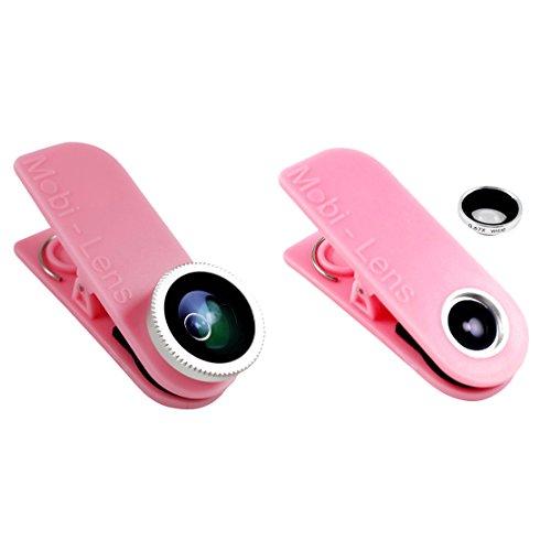 Mobi-Lens Clip On Lens 3 Lens Kit, Wide, Macro, Fisheye Lens for iPhone 6 Plus 6 5s 5c 5, Note 4 5 Galaxy S4 S5 S6 Edge - Pink by Mobi-Lens