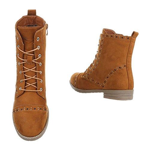 Zapatos para mujer Botas Tacón ancho Botines con cordones Ital-Design Braun