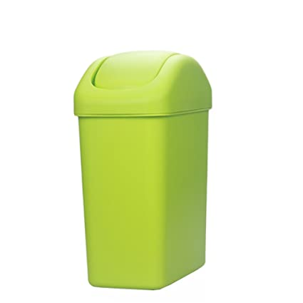 Hflove Plastic Trash Can Thicken Kitchen Trash Bin with Swing Top Lid ,2.1  Gallon (Green)