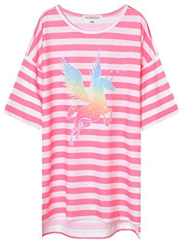 Perfashion Girls Unicorn Nightgown Kitty Sleepwear Cotton Cute Pajama Dresses for Girls Sleep Shirts