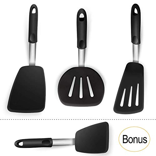 KaraMona Extra Large Rubber Spatulas Silicone Heat Resistant BPA Free Spatula Set - XL Slotted Turner Spatula, XL Slotted Wide Spatula / Pancake Flipper, XL Spatula / Egg Turner, Silicone -