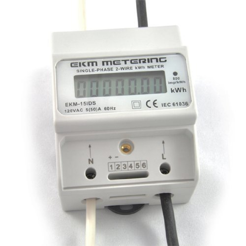 EKM Metering 120 Volt Pass-Through kWh Meter, 2-Wire (1 hot, 1 neutral), 50A, 60Hz, EKM-15IDS