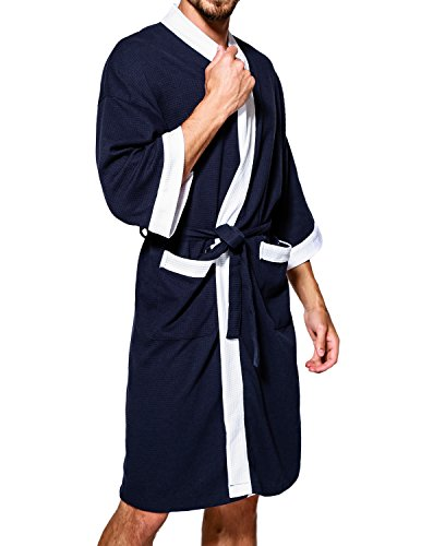 e59dcb8db8 Earlish Men s Kimono Robe Soft Cotton Knit Waffle Weave Knee Length Spa Robe