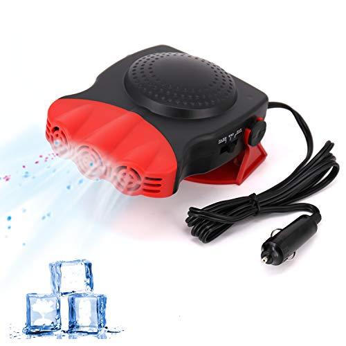 Portable Car Fan, 2 in 1 Electric Car Fan with Cooling & Heating Function Defroster Defogger 12V, 3-Outlet Plug Adjustable Thermostat in Cigarette Lighter