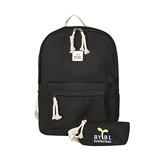 School Bag Canvas Book Bag School Backpacks for boys girls (B-Black)