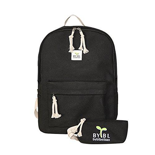 School Bag Canvas Book Bag School Backpacks for boys girls (B-Black)]()