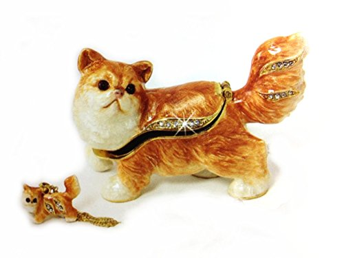Persian Cat Bejeweled Trinket Box.