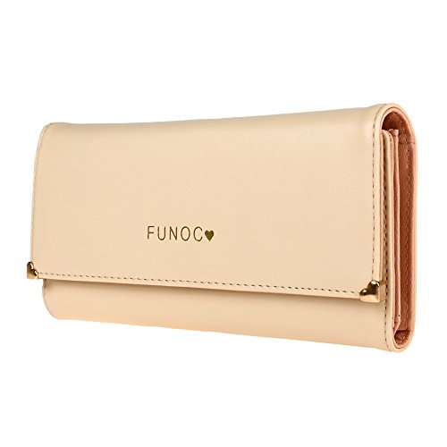 FUNOC Leather Women Wallet Purse Credit Card Clutch holder Case,Apricot,Medium