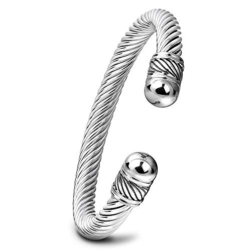 ZSML Men and Women Titanium Steel Bangles, New Trend Personality Twist Opening Adjustable Bracelets, Gold and Silver Wild Bracelet Jewelry,Silver