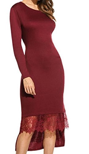 Coolred-femmes Machaon Dentelle Couture Crewneck Garniture Vin Rouge Robe Longue Nouveauté