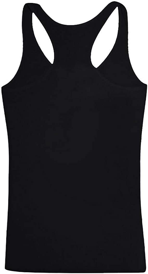 Rishine Women Summer Round Neck Vest Sleeveless Solid Color Casual Tank Tops T-Shirt