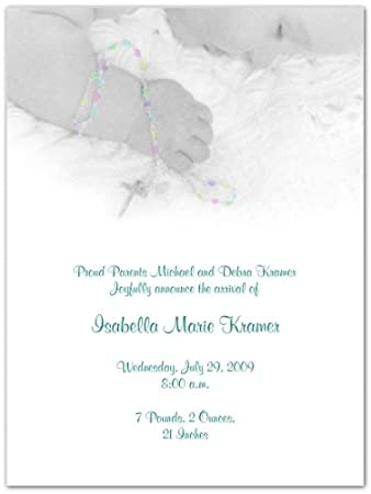 Rosary Beads Birth Announcement Invitations Set Of 20