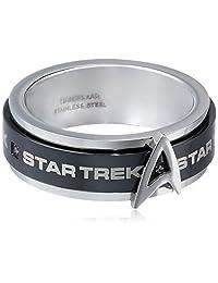 Star Trek Stainless Steel White Cubic Zirconia Spinner Ring