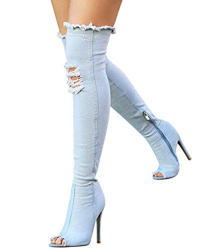 Maybest Women Denim Thigh High Heel Boots Over Knee Peep Toe Boots Ripped Stretch Jeans Stiletto Party Shoes Sky Blue 10 B (M) US