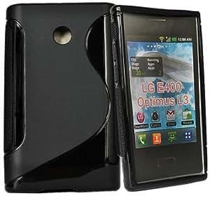 TPU Gel Back Soft Case Cover Skin For LG E400 Optimus L3 --- Color:Black