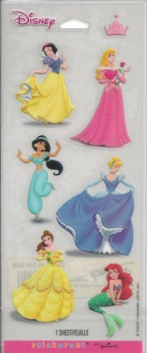 Disney Princess Glitter Accent Scrapbook Stickers (SSP6008)