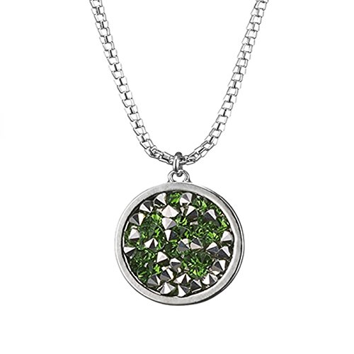 Simple Retro Silver Plated Long Chain Pendant Y Necklace Snake Chain Neck for - Green Silver &