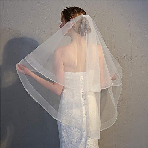 kaige Bridal Veil Veil Headband,Bridal Veil Wedding Accessories Two-Layer with Hair Comb high-Grade Elastic mesh Wave Edge Veil