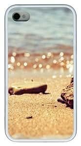 iPhone 4S Case,Beach pebbles TPU Custom iPhone 4/4S Case Cover Whtie
