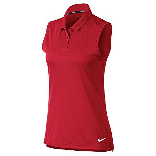 Nike New Women DRI FIT Sleeveless Golf Polo University RED/White Large