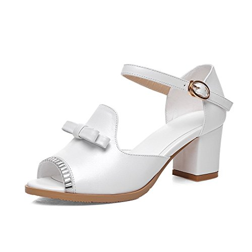 AmoonyFashion Womens Buckle Kitten-Heels Cow Leather Solid Peep-Toe Sandals White kgwHqCBwoS