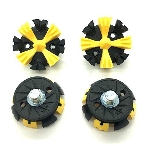 OLEYO 28PCS Golf Shoes Spikes Easy Replacement Cleats 1/4 Turn Fast Twist Metal Thread Screw Studs (Black Yellow)