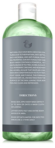 ArtNaturals Essential Bath And Body Wash Tea Tree Peppermint And Eucalyptus Oil Natural Eczema Soap For Antifungal Feet Helps Kill Nail Fungus Athletes Foot Ringworm Jock Itch And Odors 12oz