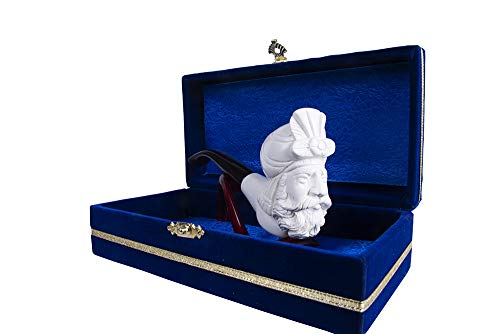 - Tobacco Smoking Pipe - Hand Made Turkish Meerschaum - Unique Design - Comes with a Special Box Covered by Velvet