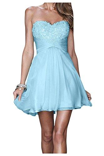 Blau mia Champagner Braut La Spitze Promkleider Kurzes Rock Cocktailkleider Abendkleider Himmel Herzausschnitt Mini q7Ffnd5xf