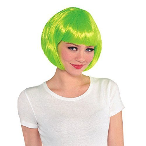 AMSCAN Neon Green Wig (One Size Fits All) Short Hair Wigs (BOB) Hairstyles Costume Accessories, Costumes for Women (Halloween, New Years, and Dress Up).