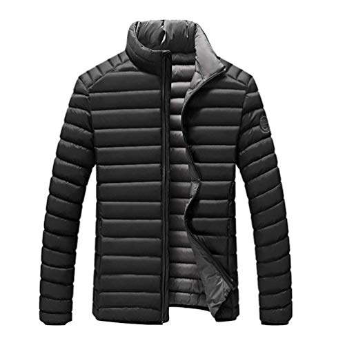 BOLAWOO Men's Autumn Winter Leisure Padded Jacket Quilted Stand Stripe Collar Warm Fashion Brands Thicken Windproof Soft Down Coat Outdoor Jackets Schwarz