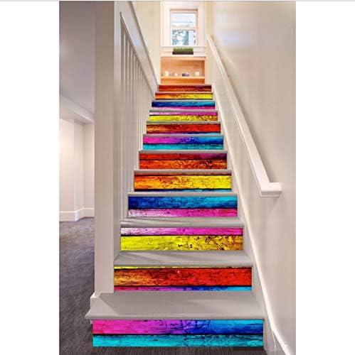 Pegatinas De Escaleras Planchas De Madera Coloreadas Patrón Estilo Escalera Etiqueta De La Pared Decoración 13 Unids/Set 18 Cm X 100 Cm: Amazon.es: Hogar