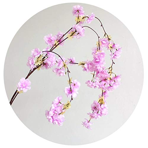 3pcs Natural Vertical Silk Cherry Blossom Flower Vine DIY Wedding Christmas Decor Cherry Tree Artificial Flower Bouquet 135cm,Purple (Vine Tree Nz Christmas)