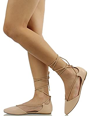 Bamboo Women's Sequel Pointy Toe Faux Leather Lace Up Akle Wrap Flat Sandals