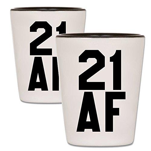 21st Birthday Shot Glass - 21 AF Shotglass - Ceramic Novelty College Gag Gift For Women and Men Turning Twenty One - Best Happy Birthday Party Gift For Guys & -