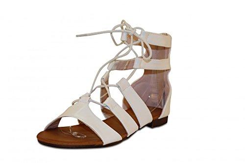 Damen Schuhe Fashion Sandalen Schnüren Riemchen Flach Sandaletten Sommerschuhe mit Reißverschluss in hochwertiger Leder Optik White