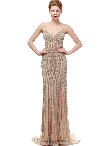 Sarahbridal Women's Beaded Crystal Evening Prom Dresses Mermaid Tulle Ball Gown Champagne US4 by Sarahbridal