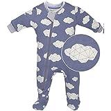 ZippyJamz Organic Baby Footed PJs w/Inseam Zipper ~ Sleepy Clouds Blue (0-3 Mos)