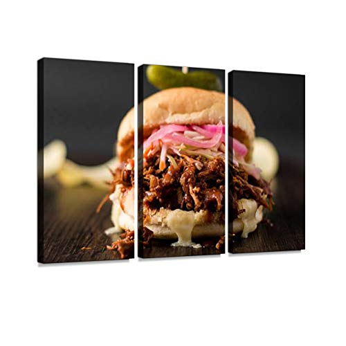 Shredded Pulled Pork Sandwich Print On Canvas Wall Artwork Modern Photography Home Decor Unique Pattern Stretched and Framed 3 Piece