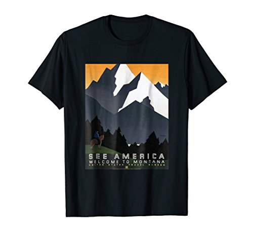 See America Welcome to Montana Travel Art Poster T-Shirt