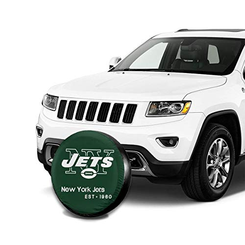 Onbaobiva Custom Spare Tire Cover New York Jets American Football Team Potable Universal Dust-Proof Spare Wheel Tire Cover Protectors for Jeep Trailer RV SUV Truck and Many Vehicle