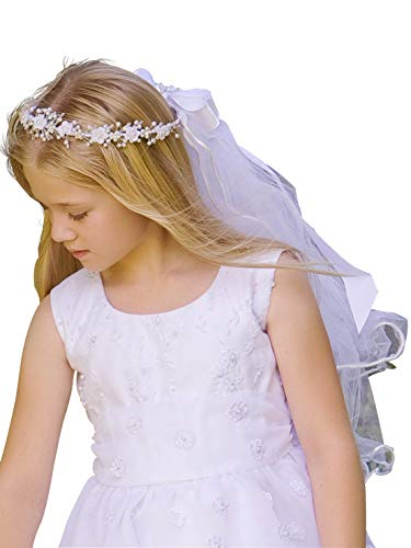 Corded Rosebuds w/Bead Accents & Satin Ribbon Communion Veil -