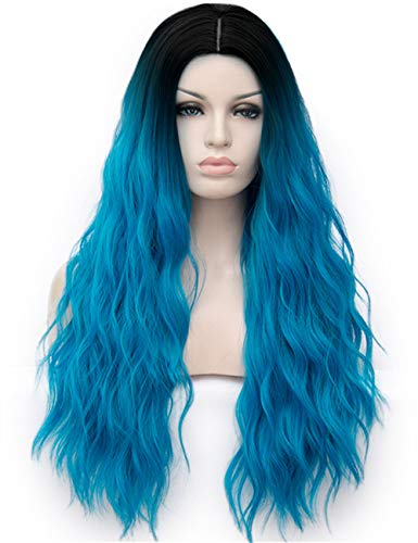 TopWigy Women Blue Wig 28 Inches Synthetic Heat Resistant Middle Part Ombre Long Wavy Wig for Cosplay Costume Party