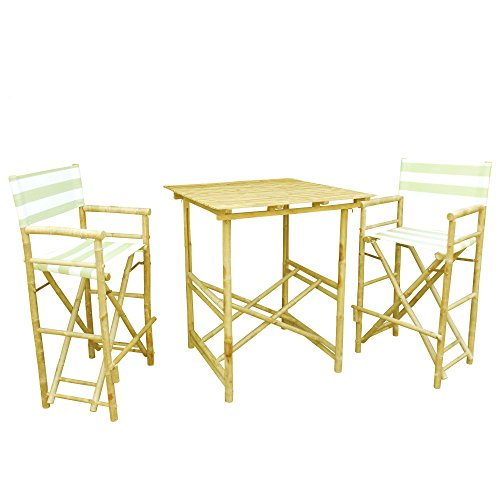 Zero Emission World Set of 1 High Table and 2 High Director Chairs, Celadon Stripes, Square by Zero Emission World