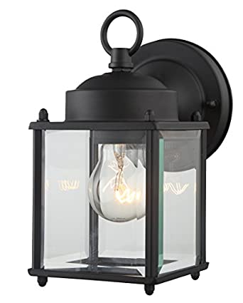 Outdoor Wall Lantern Black Finished Steel Clear Glass Vintage ...