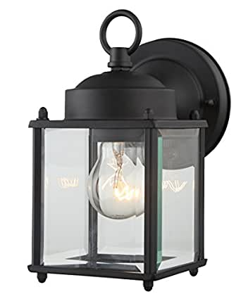 "Outdoor Wall Lantern Black Finished Steel Clear Glass Vintage Exterior Light Fixtures 4''(W) 8.25""(H) Extends 5.9"" Waterproof Outdoor Light for Garden,Porch"