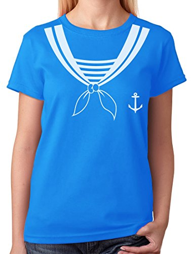 TeeStars - Halloween Sailor Costume Women T-Shirt Medium Aqua ()