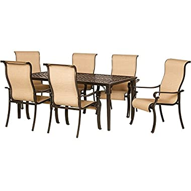 Hanover ODBR-7PC-SL-AL Brigantine 7-Piece Outdoor Dining Set, Brown/Tan